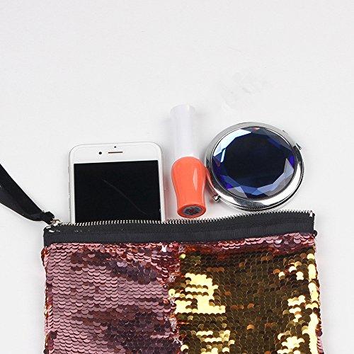 Lukis Damen Kosmetiktasche Glänzend Paillette Glitzer Handtasche Party Grün Gold