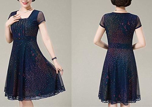 Damen Chiffon Kleid Sommerkleid Elegant Partykleid Hochzeit Festliches  Printkleider Kleid A Linie Kurzarm Knielang Marine 8
