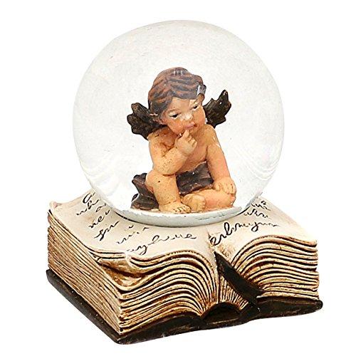 Bellissimo set di 2 palle di vetro con neve, angeli e base a forma di libro, circa 6,5 x 5 cm/ Ø 4,5 cm