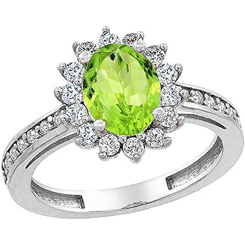 Revoni 14ct oro blanco lazulí Natural Floral 8 x 6 mm Oval Halo de anillo de diamantes