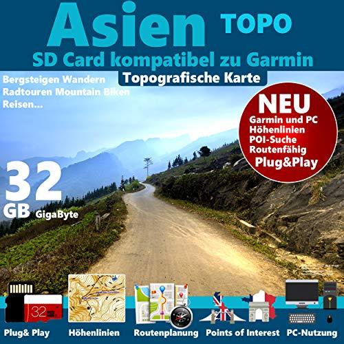★ASIEN (inkl China+Indien) Topo GPS Strassenkarte für Navigationsgerät mit Höhenlinien 32GB microSD für Garmin Navi, PC & MAC★CHINA+INDIEN Thailand, Vietnam, Nepal, Indonesien,Korea, PhilippinenJapan,Mongolei,Pakistan
