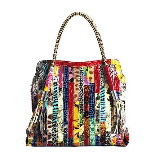 Segater® Damen Multicolor Einkaufstasche Echtes Leder Handtasche Bunte Patchwork Große Umhängetasche Shopper Taschen Großer Crossbody Hobo Handtasche (Colorful-MIddle size)