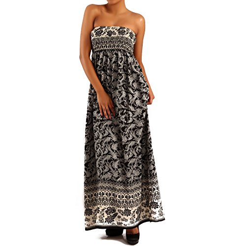 Damen Maxikleid Hippie Bandeau Long Dress Strandkleid Beige/Mehrfarbig