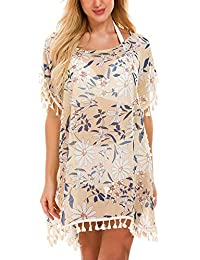 ba24c7cc921 Womens Chiffon Beachwear Tassel Beach Dress Bikini Swim Bathing Suit Cover  Up