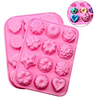 JPSOR 2 pezzi in silicone Stampi fiori e animali forme focaccina Stampi Cupcake lattine Candy stampi da forno Cup Chocolate Mold