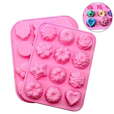JPSOR 2Pcs Moules en silicone Fleurs et formes d'animaux Muffin Moules Cupcake Tins Moules de sucrerie Coupe de boulangerie Moule à chocolat