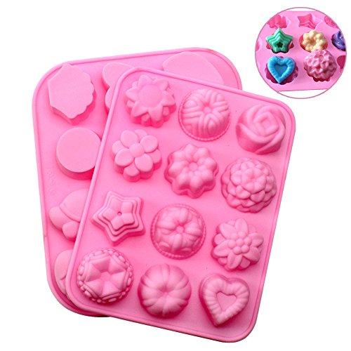 JPSOR 2 Piezas Moldes de Silicona Para Magdalenas Con Formas de Flores y Animales Moldes de Muffins Bombones Reposteria Moldes Para Fondant Mini Tarta Moldes de Chocolate