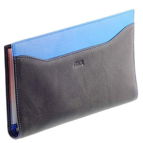 Begleiter/halter scheckheft frau / Lederportemonnaie N1549 schwarz-blau (Damen-scheckheft-halter)