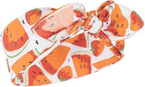 Küstenluder Damen Haarband Tonja Melone Bandana Weiß mit orangen Früchten 53cm x 53cm
