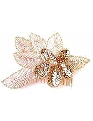Rose Gold Haarkamm 1920er Pailletten Great Gatsby Flapper Vintage Kopfbedeckung Clip 666Stil der Zwanzigerjahre