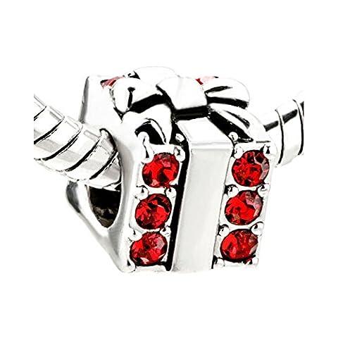 Eisen-YD-Jewelry 2rot Kristall Januar Geburtsstein Urlaub Geschenk-Box European Charm Spacer Perlen Damen Armband 2Stück - Cristallo Gennaio Charm