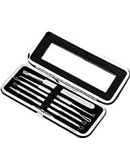 5 Stücke Komedonenquetscher Mitesserentferner Set aus risikofreiem Edelstahl Nagelhautschieber Werkzeug gegen Mitessern Pickel Akne für Gesundheit Behandlung