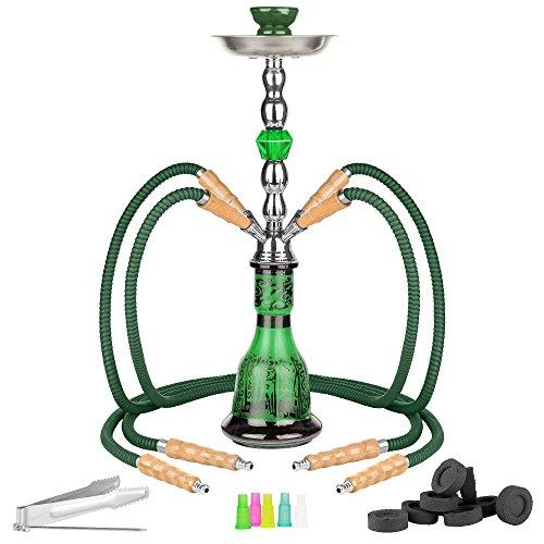 Mianova® Wasserpfeife Shisha Hookah Set aus Glas mit 4 Schäuchen inkl. Kohle, 5 Mundstücke und Zange Grün