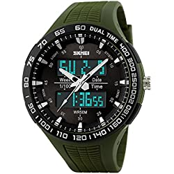 Men's watch - SKMEI Men's outdoor Multifunction movement electronic Waterproof watch Army Green