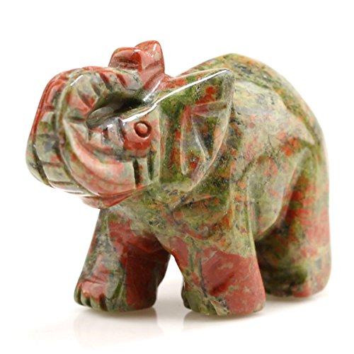 Geschnitzt Heilstein Guardian Elefant Pocket Edelstein Figuren 5,1cm, Unakite