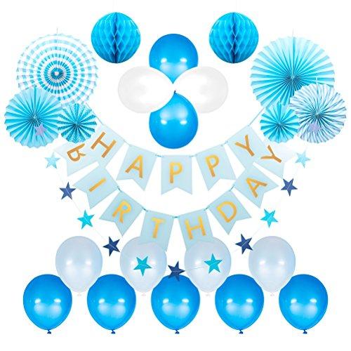 69 stück Geburtstag Dekoration,Happy Birthday Dekorationen Banner Girlande Papier Wabenbälle Ballons Sterne Girlande Banner Flaggen Tissue Papier Fans Fächer für Kinder (blau)