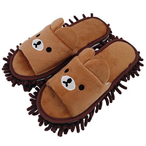 Selric Abnehmbar Mopp Pantoffeln Bild Bär Kaffee, Hausschuhe mit Wischmopp,Bequeme Hausschuhe Zum zeitsparenden Bodenputzen 25cm [Größe EU:36-39]