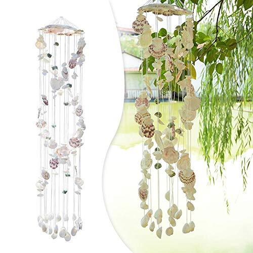 shewt Garten Im Freien Natürliche Muschel Windspiele Mediterranen Stil Windspiele für Hauptdekoration Geschenk