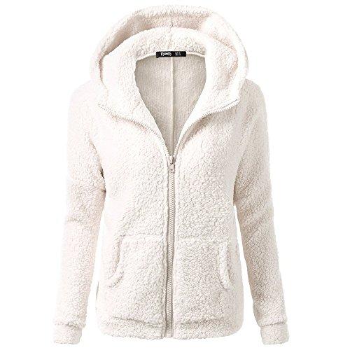 Geilisungren Mäntel Damen Flauschige Jacke Winter Warm Outwear Langarm Mit Kapuze Sweatshirt Reißverschluss Sweatjacke Casual Übergrößen Fleecemantel Wollmantel Hoodie Coat mit Taschen