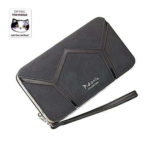 BIG SALE- 40% OFF -Woolala Phone Clutch Wallet Multi-pattern Iphone Samsung Phone Wallet Case with Wristlet, GeometryBlack