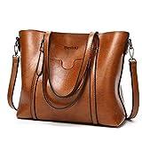 BestoU Damen Handtasche Leder Tasche Shopper Damen Handtaschen Groß Schule Schultertasche Frauen Umhängetasche (Braun)
