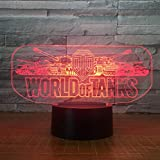 Lixiaoyuzz 3D Nachtlampe 2018 World Tank Car  Night Light Electric Illusion  Lamp Led 7 Color Changing Usb Touch Desk Lamp For Kid'S Birthday Gift