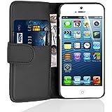 JAMMYLIZARD [ iPhone 5/5S & iPhone SE Case ] Leather Wallet Flip Cover, Black