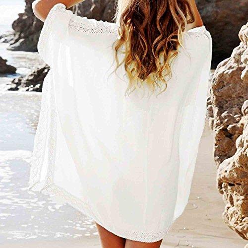 Minetom Donne Estate Sciolto Vestito Manica A Pipistrello Abito Scollo A V Spiaggia Vestito Bianco