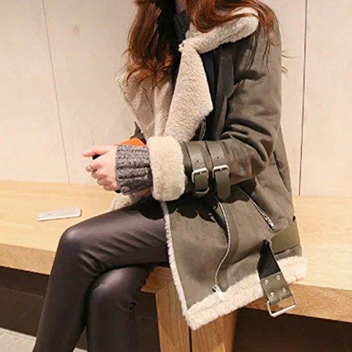 Minetom Damen Mode Warm Casual Streetwear Winter Wildleder Wolle Motorradjacke Mantel Fleece Outwear Jacke Parka Mit Taschen Dunkelgrün DE 38 - 4