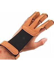 Tres Dedos Guantes de disparo para ambidiestros transpirable de microfibra marrón tiro con arco guantes dedo ajustable