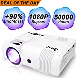 DR.Q L8 Projector, Upgraded 3600 Lux Video Projector, Mini Projector Supports 1080P FHD and 170 Inch, 50000 Hours Lamp Life, Supports HDMI VGA VA USB TF Devices, Home Theater Projector, White.