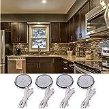 4pcs LED Runde Küche Schrank Kabinett-Licht Unterbauleuchte Möbelanbauleuchte Schrankbeleuchtung Set (warmweiß)