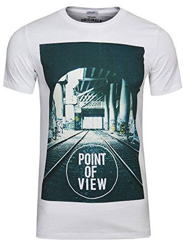 JACK & JONES HERREN FREIZEIT / SPORT / CLUB T-SHIRT Weiß ( white point/ Slim Fit )