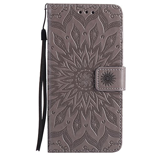 JIALUN-Telefon Fall Für Apple IPhone 6 & 6s Plus Fall, mit Lanyard, Card Slot, Halterung, Magnetische Wölbung Sun Flower Flat Open Phone Shell ( Color : Purple ) Gray