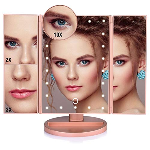 ZRDY LED Touchscreen 22 Licht Make-up Spiegel Tisch Desktop Make-up 1X / 2X / 3X / 10X Vergrößerungsspiegel Vanity 3 Folding Adjustable Mirror (Color : Rose Gold)