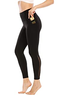 Aidotop High Waist Leggings Damen Netzoberfl/äche Lange Yogahose Sporthose Fitnesshose Laufhose Training Tights mit Taschen