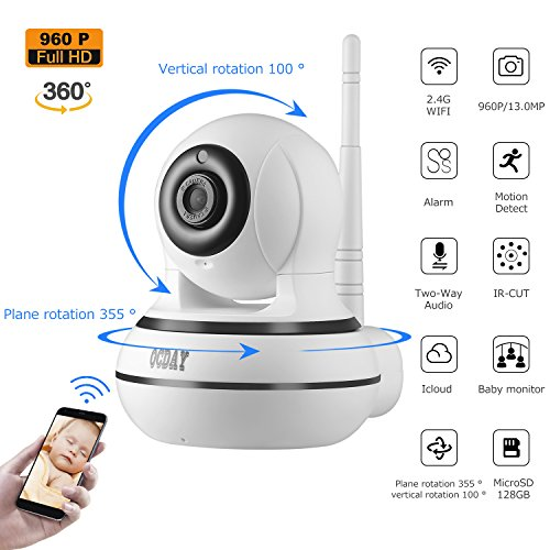 WiFi Camera, OCDAY Wireless Security IP Camera Home Security Baby Monitor Surveillance WebCam Motion Detection Recording with Two Way Audio Video Monitor 960P HD Night Vision APP CMOS 5V 10W 510WVJs 2BAGL