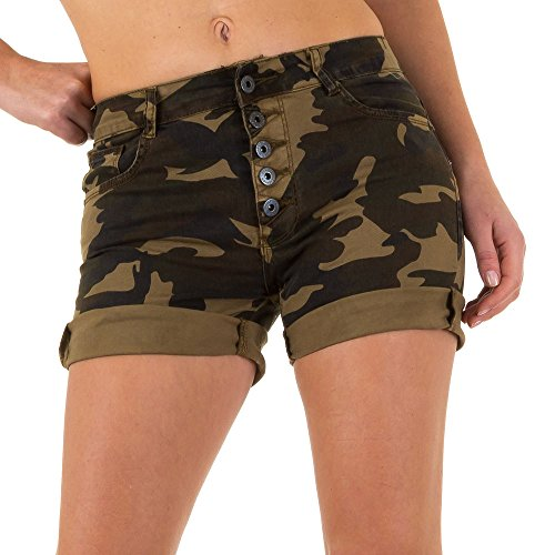 Damen Shorts Military Camouflage Hot Pants Khaki 38 (Jeans Rise Bootleg Low)
