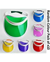 Pack of 10 Sun visor Adult Red Green Blue Yellow Purple Pink and Multi pack Fancy dress Party Hen Night Mega_Jumble