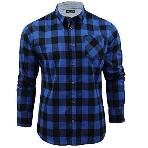Mens Shirt by Brave Soul Brushed Flannel Check Long Sleeved (Blue/ Black) XL