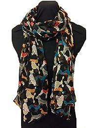 Black overlapping dogs multi coloured scarf sausage dog dalmatian irish wolfhound doodle