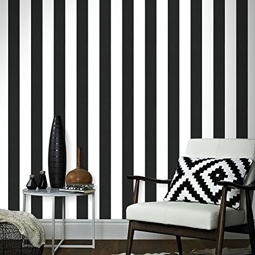 Superfresco Easy Paste The Wall Wandtapete, gestreift, 100 x 53 cm, Schwarz/Weiß