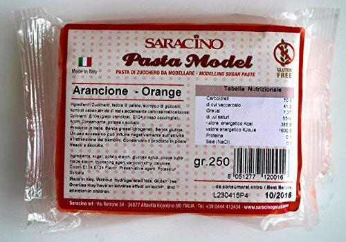 Saracino Model Pasta Modellabile di Zucchero per Torte e topper Cake Design - 250gr vari colori (Arancione)