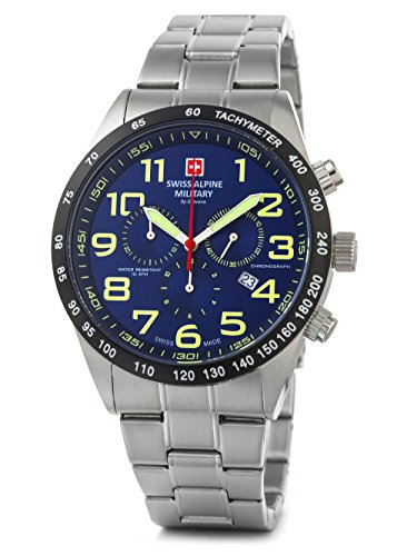 Swiss Alpine Military by Grovana Herrenuhr Chrono 10 ATM Blue 7047.9135SAM