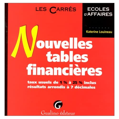 NOUVELLES TABLES FINANCIERES. Taux usuels de 1% à 25% inclus, résultats arrondis à 7 décimales