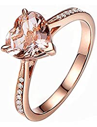 Heart Jewelry Rings Fashion Crystal Engagement Ring Wedding Ring For Women - Size 10 (Rose Gold)