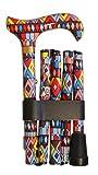 Gehstock Faltstock MIRÓ, bequemer Derbygriff aus stabilem Gießharz in extravagant buntem Design, aufgesetzt auf einen Stock aus stabilem Leichtmetall, höhenverstellbar, faltbar, inklusiv Schlankpuffer, Halteklammer und Tasche.