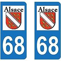 Paire Sticker immatriculation 68 - Haut Rhin