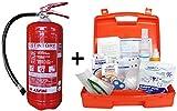 Cassetta Medica Di Pronto Soccorso Con Allegato 2 Per Aziende Meno 3 Persone + Estintore a polvere 6 kg, grande efficacia 34A 233B C