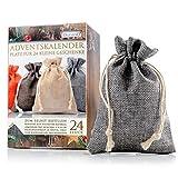 Jutesäckchen | Jute-Beutel | Jute-Sack 24er Set für Adventskalender mit Geschenk-Verpackung, 13cm x 9,5cm, Jutebeutel, Stoffbeutel, Natur Säckchen, Geschenksäckchen, Sack, Beutel, Farbe Grau